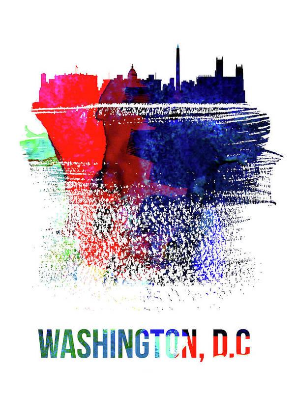 Washington D C Poster featuring the mixed media Washington, D.c. Skyline Brush Stroke Watercolor  by Naxart Studio