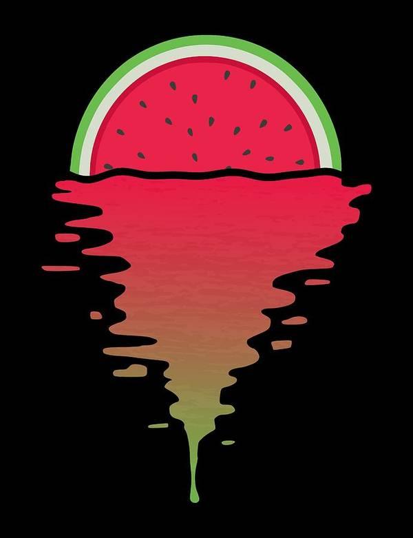 Watermelon Poster featuring the digital art Watermelon Sunset by Filip Schpindel
