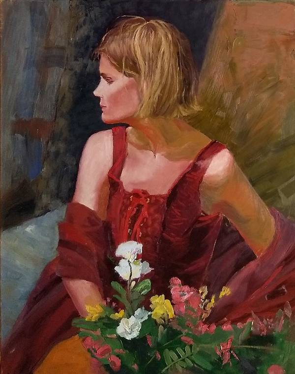 Girl Poster featuring the painting SOLD What About My Flowers by Irena Jablonski