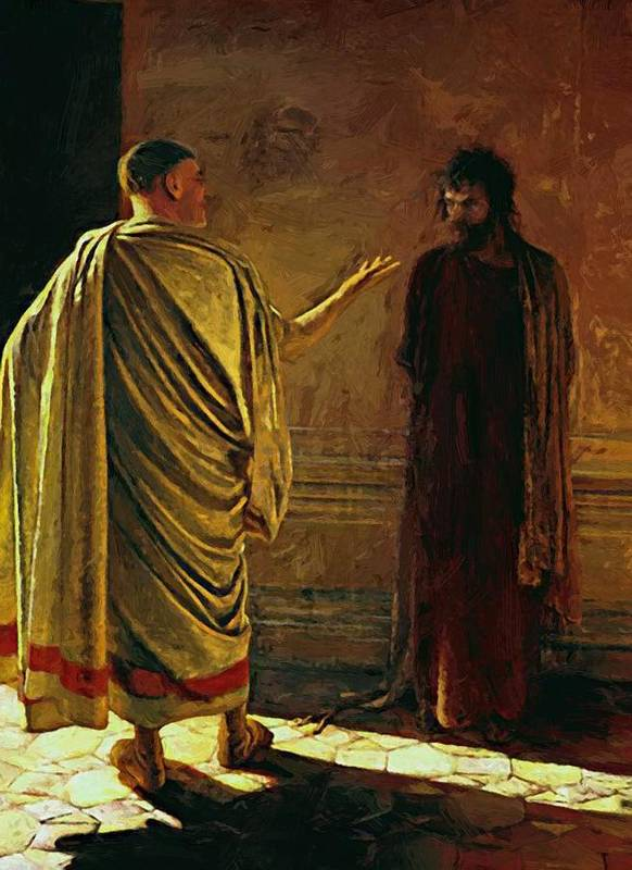 What Poster featuring the painting What Is Truth Christ And Pilate by Ge Nikolai
