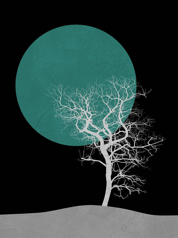 Tree Poster featuring the mixed media White Tree And Big Moon by Naxart Studio