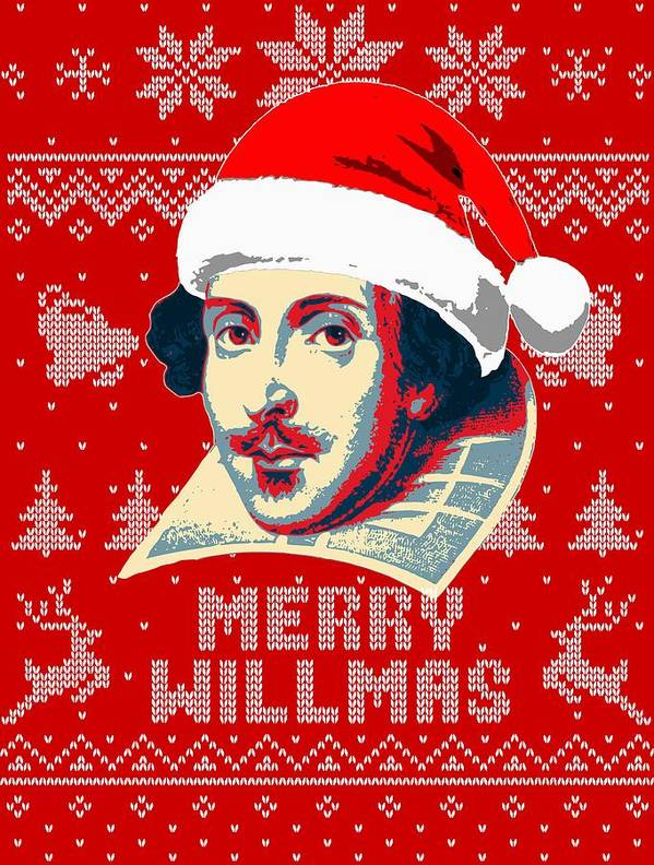 Santa Poster featuring the digital art William Shakespeare Merry Willmas by Filip Hellman
