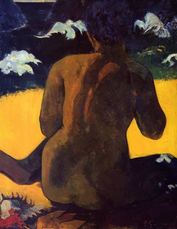 Woman Poster featuring the painting Woman By The Sea 1892 by Gauguin Paul