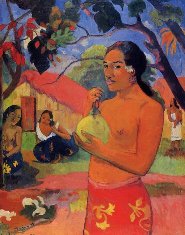 Woman Poster featuring the painting Woman Holding A Fruit 1893 by Gauguin Paul