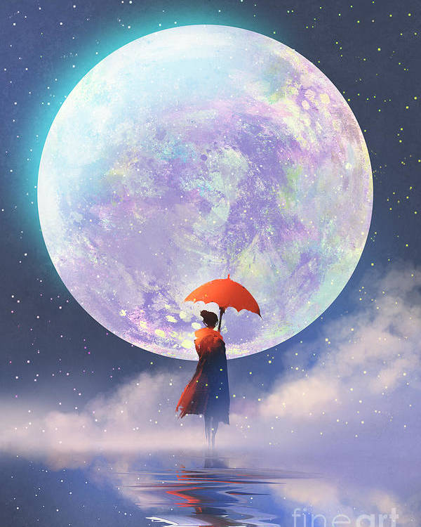 Woman Poster featuring the digital art Woman With Red Umbrella Standing by Tithi Luadthong