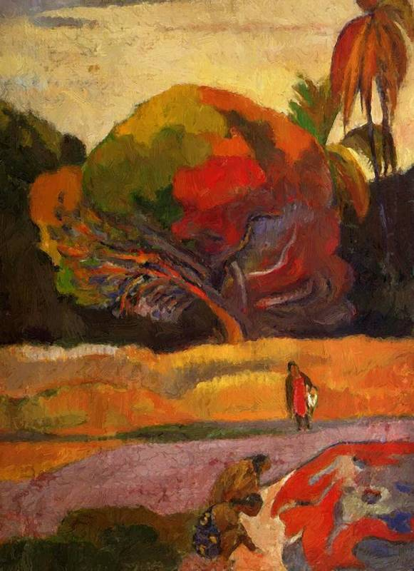 Women Poster featuring the painting Women At The Riverside 1892 by Gauguin Paul