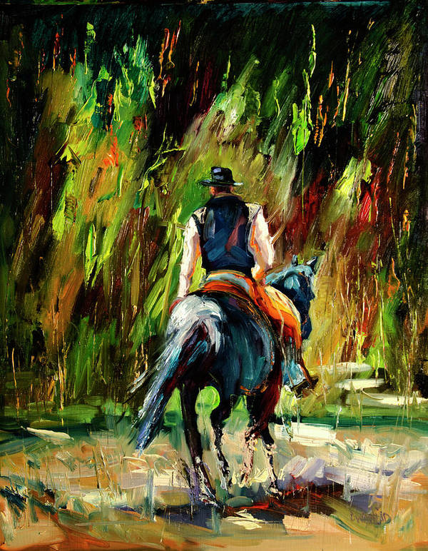 Diane Whitehead Poster featuring the painting Work is Done Cowboy by Diane Whitehead