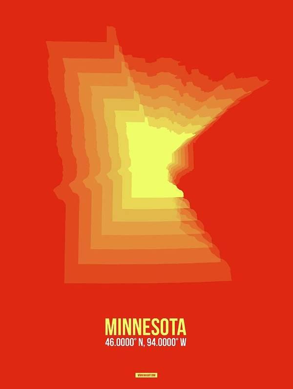 Minnesota Poster featuring the digital art Yllow Map Of Minnesota by Naxart Studio