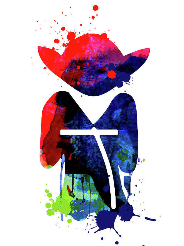 Yoda Poster featuring the mixed media Yoda Cartoon Watercolor 1 by Naxart Studio