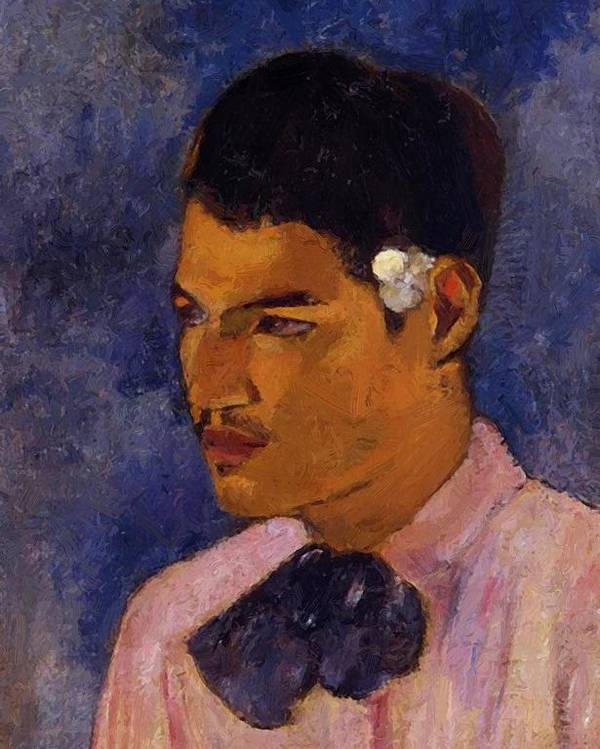 Young Poster featuring the painting Young Man With A Flower Behind His Ear 1891 by Gauguin Paul
