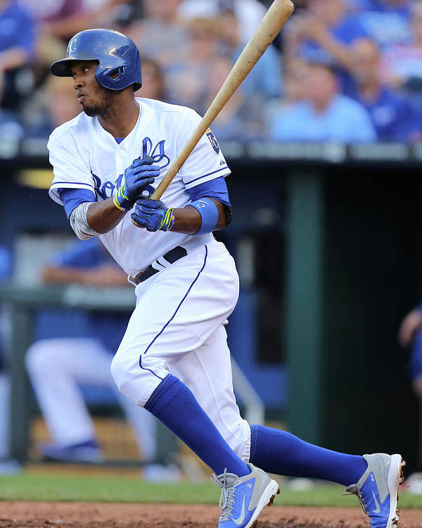 Second Inning Poster featuring the photograph Alcides Escobar by Ed Zurga