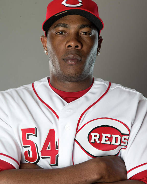 American League Baseball Poster featuring the photograph Aroldis Chapman by Mike Mcginnis