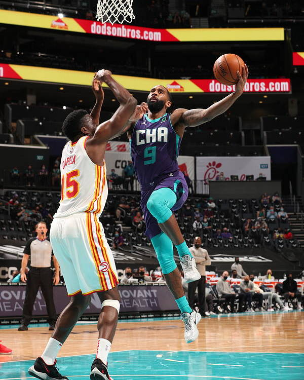 Nba Pro Basketball Poster featuring the photograph Atlanta Hawks v Charlotte Hornets by Kent Smith