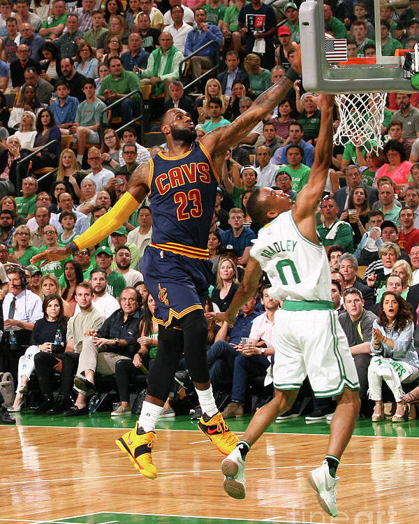 Playoffs Poster featuring the photograph Avery Bradley and Lebron James by Nathaniel S. Butler