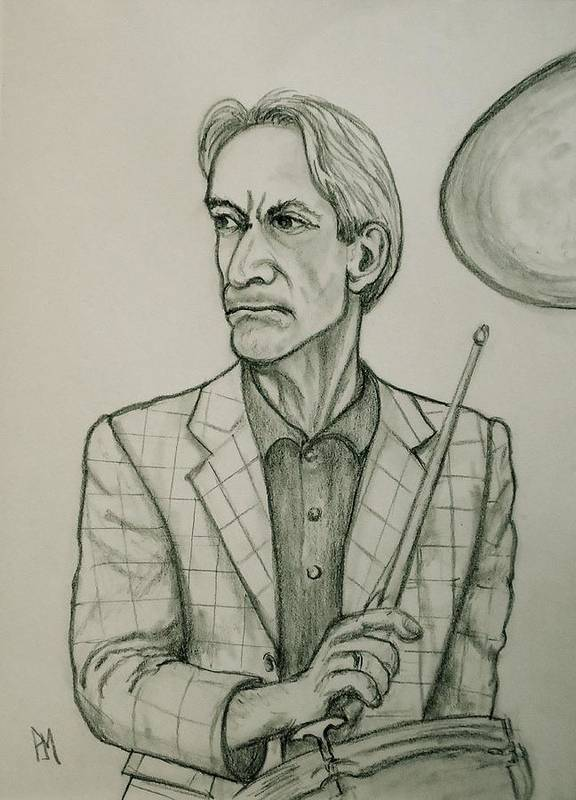 Charlie Watts Poster featuring the drawing Charlie by Pete Maier