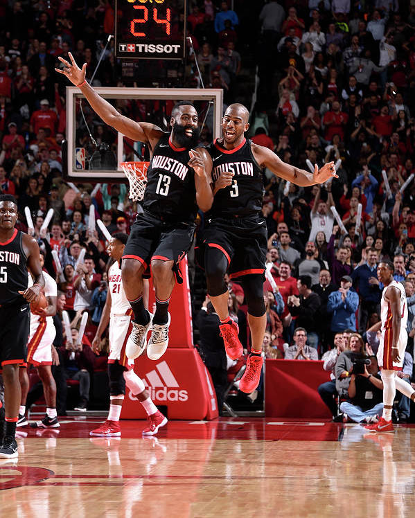 Nba Pro Basketball Poster featuring the photograph Chris Paul and James Harden by Bill Baptist