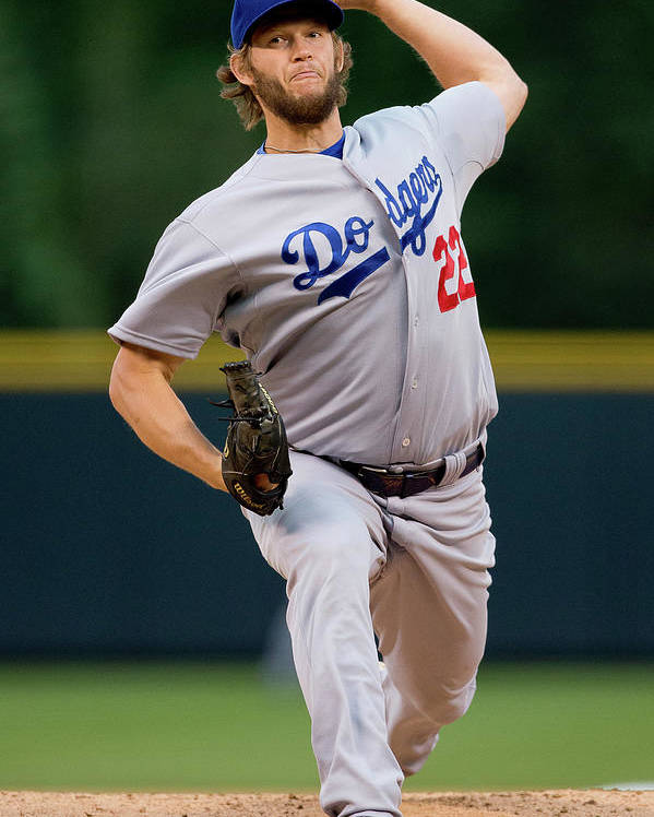 People Poster featuring the photograph Clayton Kershaw by Justin Edmonds