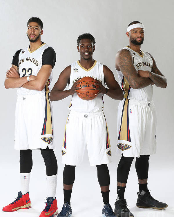 Nba Pro Basketball Poster featuring the photograph Demarcus Cousins, Jrue Holiday, and Anthony Davis by Layne Murdoch