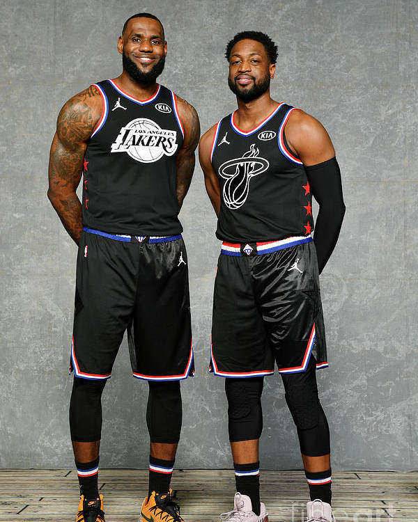 Nba Pro Basketball Poster featuring the photograph Dwyane Wade and Lebron James by Jesse D. Garrabrant