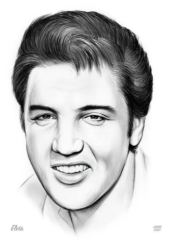 Elvis Poster featuring the drawing Elvis by Greg Joens