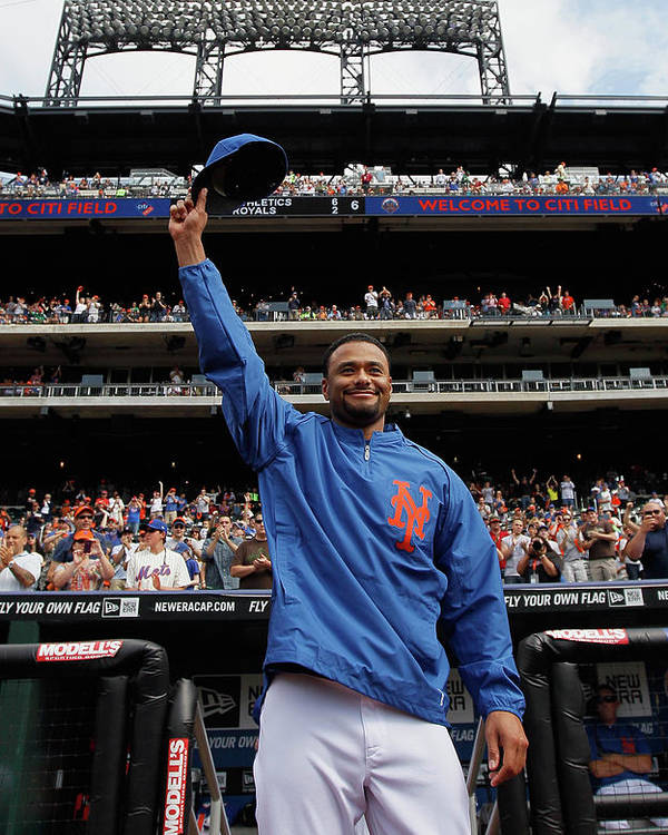 Crowd Poster featuring the photograph Johan Santana by Mike Stobe