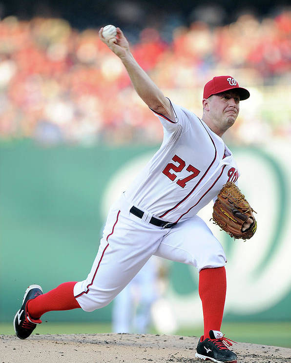 Second Inning Poster featuring the photograph Jordan Zimmermann by Greg Fiume