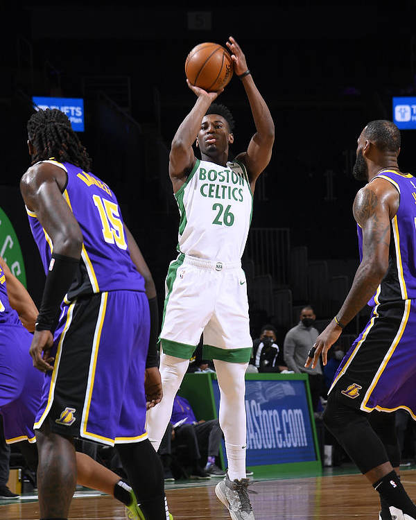 Nba Pro Basketball Poster featuring the photograph Los Angeles Lakers v Boston Celtics by Brian Babineau