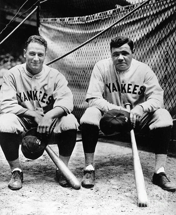 American League Baseball Poster featuring the photograph Lou Gehrig and Babe Ruth by National Baseball Hall Of Fame Library