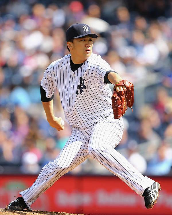American League Baseball Poster featuring the photograph Masahiro Tanaka by Al Bello