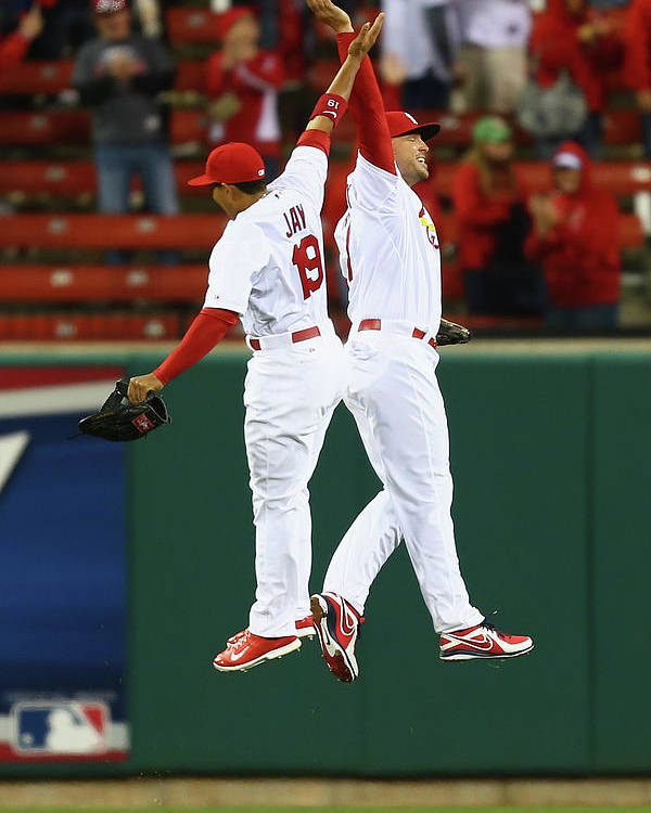 St. Louis Cardinals Poster featuring the photograph Matt Holliday and Jon Jay by Dilip Vishwanat