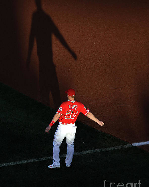 People Poster featuring the photograph Mike Trout by Sean M. Haffey