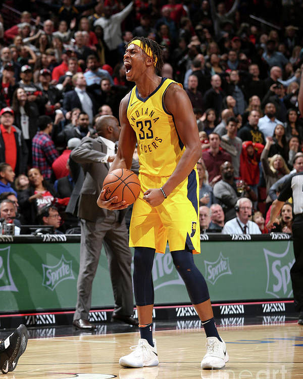 Nba Pro Basketball Poster featuring the photograph Myles Turner by Gary Dineen