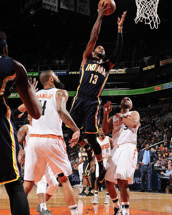 Nba Pro Basketball Poster featuring the photograph Paul George by Barry Gossage
