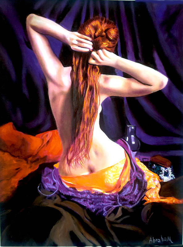 Nude Poster featuring the painting red by Jose Manuel Abraham
