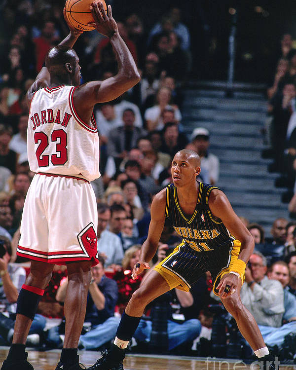 Chicago Bulls Poster featuring the photograph Reggie Miller and Michael Jordan by Nathaniel S. Butler