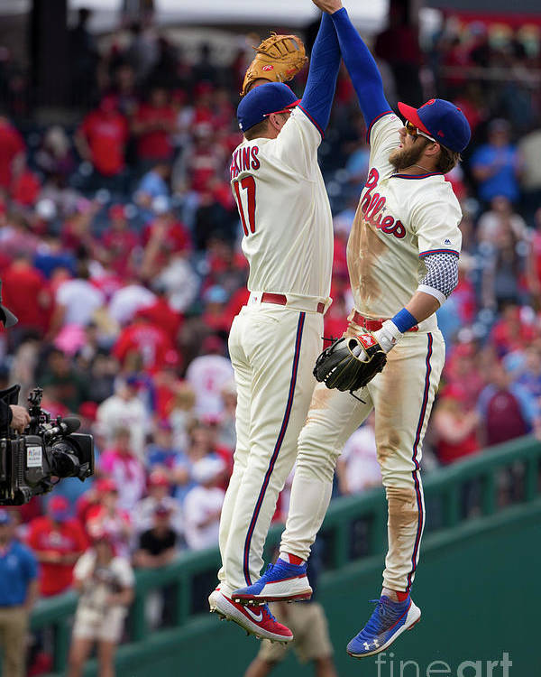 People Poster featuring the photograph Rhys Hoskins And Bryce Harper by Mitchell Leff
