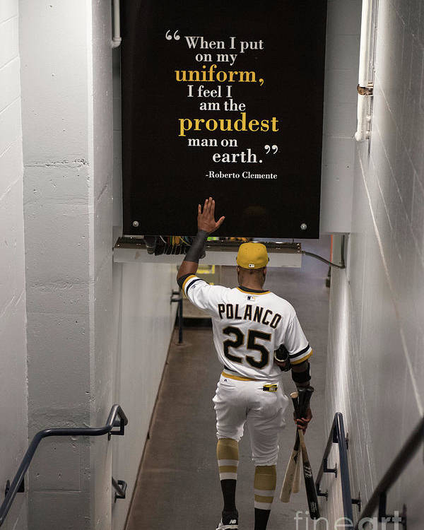 People Poster featuring the photograph Roberto Clemente and Gregory Polanco by Justin Berl