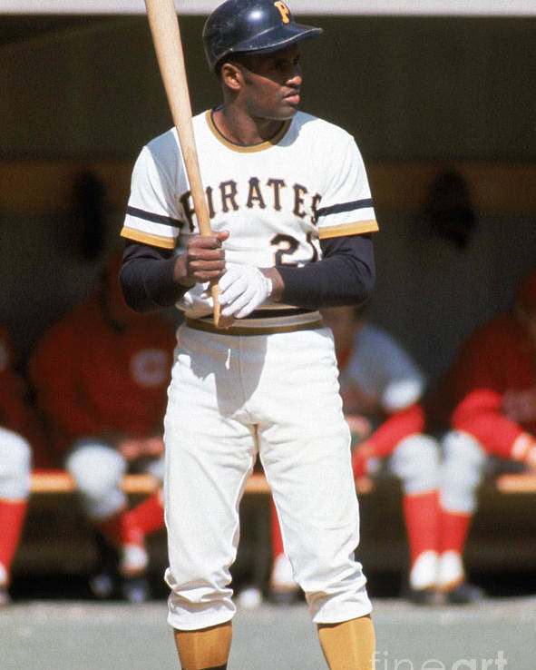 Sports Bat Poster featuring the photograph Roberto Clemente by Mlb Photos