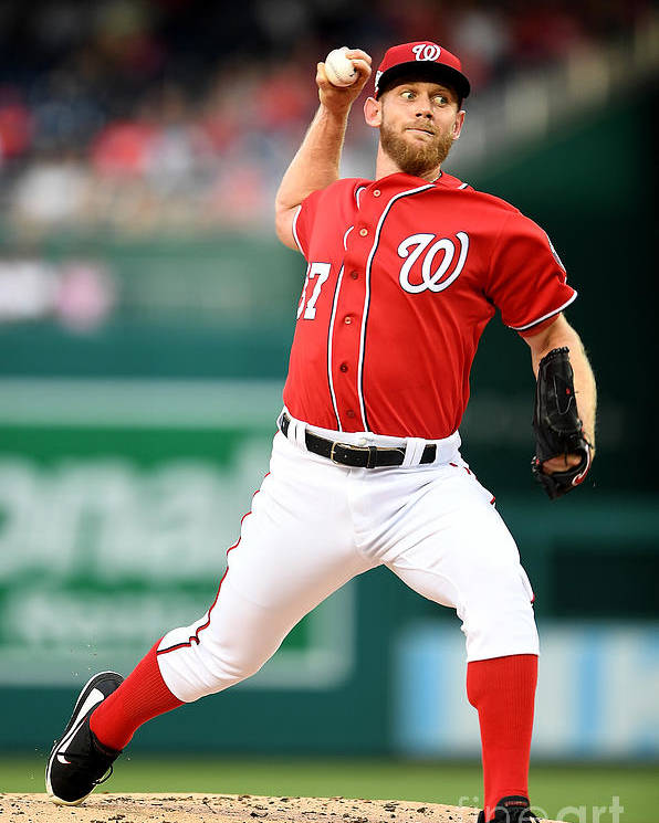 Second Inning Poster featuring the photograph Stephen Strasburg by Greg Fiume