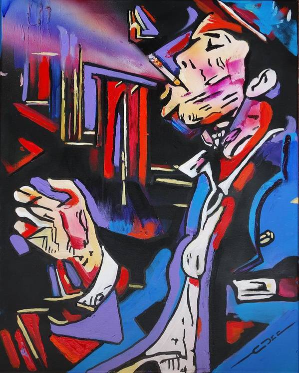 Tom Waits Poster featuring the painting Tom Waits by Eric Dee