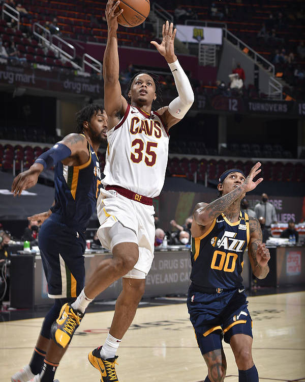 Nba Pro Basketball Poster featuring the photograph Utah Jazz v Cleveland Cavaliers by David Liam Kyle