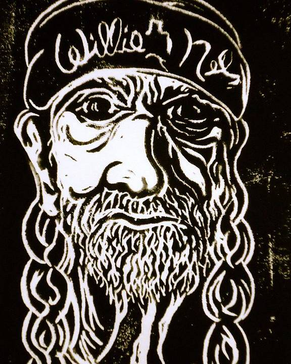 Willie Nelson Poster featuring the drawing Willie by Pete Maier