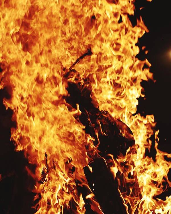 Campfire Poster featuring the photograph Closeup of Fire at time of festival by Ravindra Kumar