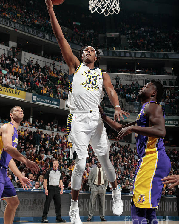 Sports Ball Poster featuring the photograph Myles Turner by Ron Hoskins