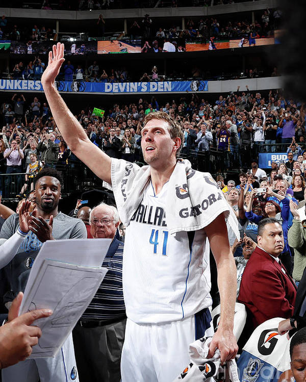 Nba Pro Basketball Poster featuring the photograph Dirk Nowitzki by Glenn James