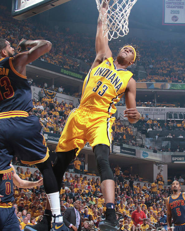 Playoffs Poster featuring the photograph Myles Turner by Ron Hoskins