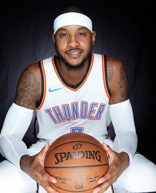 Media Day Poster featuring the photograph Carmelo Anthony by Layne Murdoch