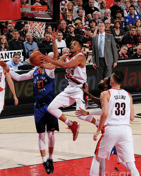 Playoffs Poster featuring the photograph C.j. Mccollum by Cameron Browne