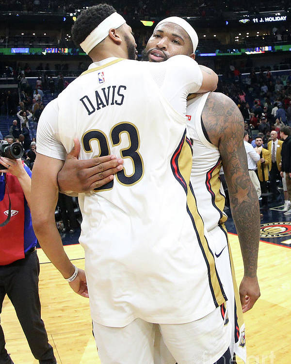 Smoothie King Center Poster featuring the photograph Demarcus Cousins and Anthony Davis by Layne Murdoch