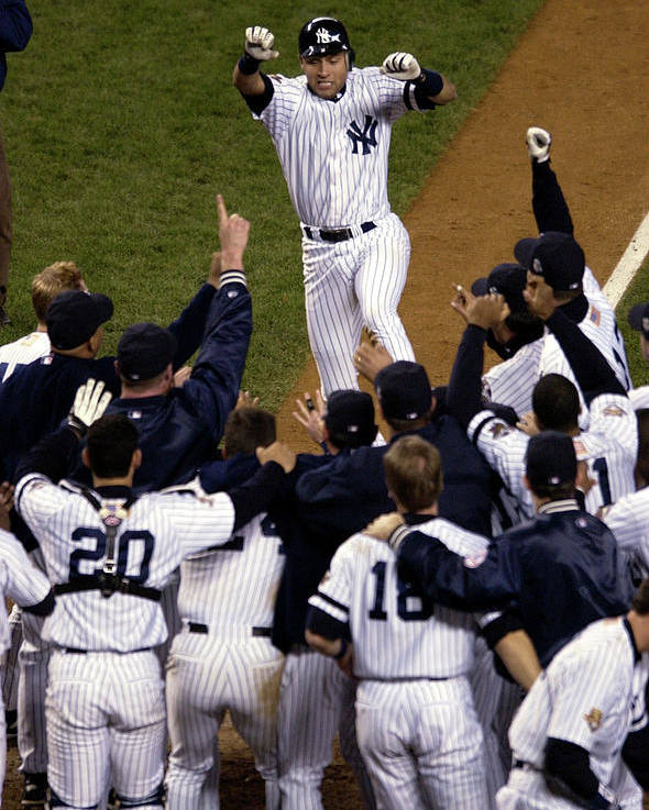 Celebration Poster featuring the photograph Derek Jeter by Ezra Shaw